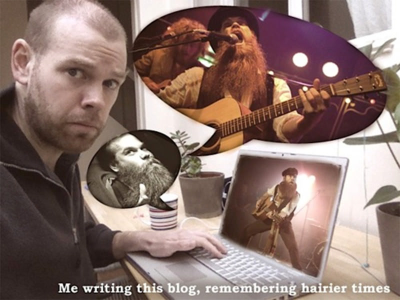 Louis Barabbas writing his blog and remembering hairier times