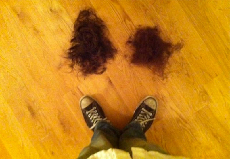 Beard clippings on the floor