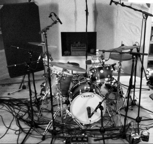 Tom Cleghorn's drums, newly set up in The Bedlam Six house studio