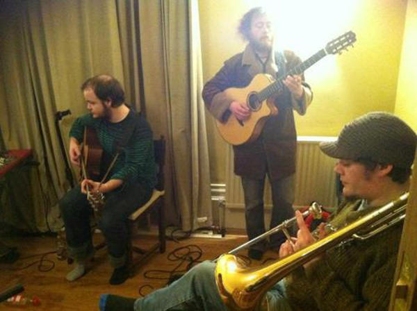 Dan, Cleg and Biff recording in the Bedlam Six house studio