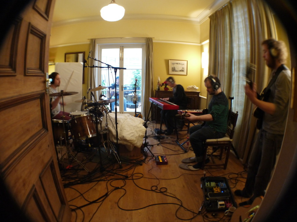 The Bedlam Six recording in their house studio