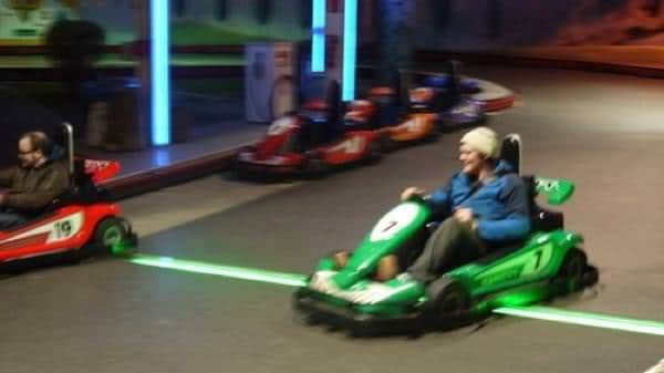 Biff Roxby races on the go-kart track in Vienna