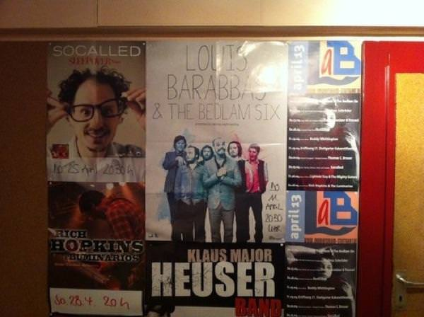 Bedlam Six poster at the Laboratorium venue in Stuttgart.