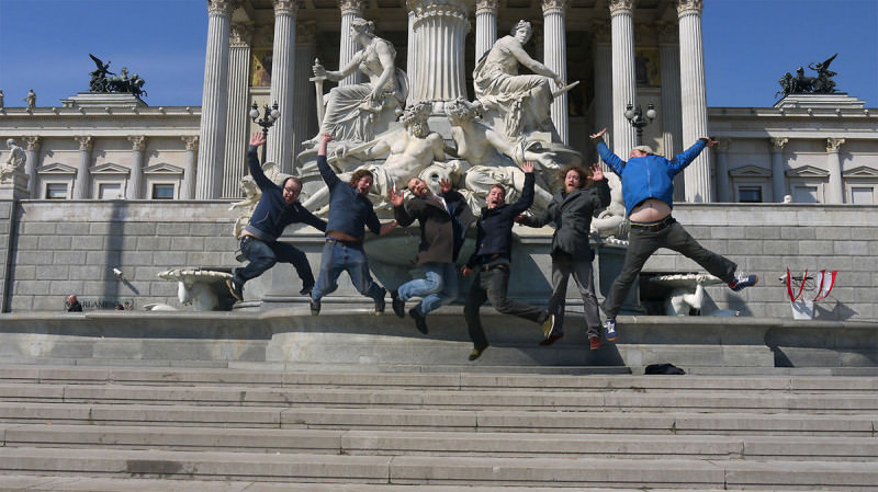 The Bedlam Six do some Monkees-style leaping while on tour
