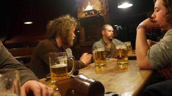 The band at a bar in Bruges