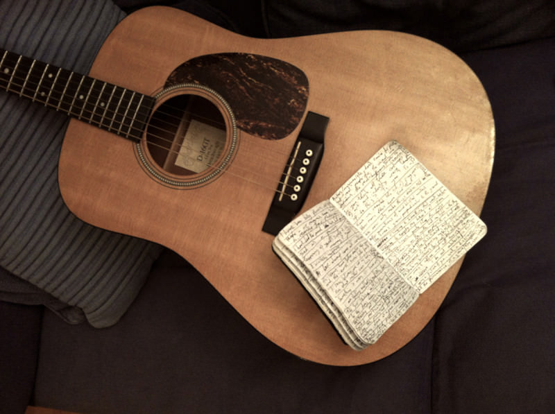 Songwriting notes on a guitar